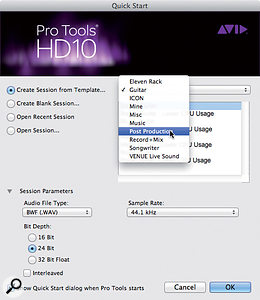 Pro Tools' Quick Start window lets you choose atemplate as astarting point for your new session.