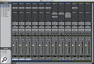 This is atemplate session Imade for achoir recording where Ineeded to set up quickly. The choir mics are routed to astereo aux, and both that and the piano track are sent to areverb plug-in and aheadphone output.