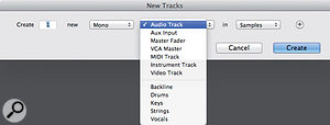 Once my Track Presets are in place, their subfolders are visible in the New Track dialogue. Choosing one of these subfolders then brings up the list of Track Presets within it in the right-hand drop-down menu.