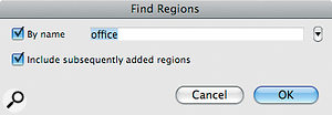 You can search the Region List by name, and save searches for later re‑use.