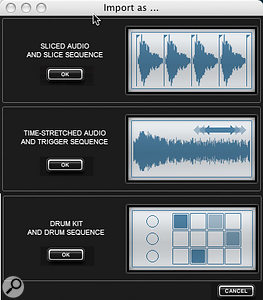 Raw audio can be used as material for Slicer, Drum or Phrase tracks.