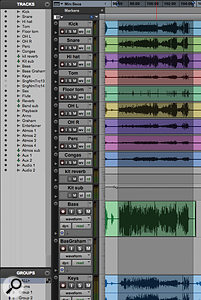 Here, I've used the Group All function in the Group List (bottom left) to ensure that all my actions apply to all tracks, and selected the first song in the Session.