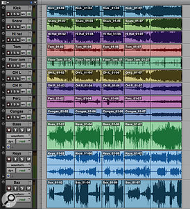 The process of division in operation: three songs have been separated and I'm about to make the final cut.
