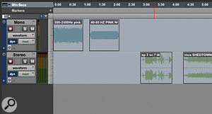 In these screens you can see what happens to my surround session (top) when I open it in Pro Tools 10 (below): the surround track is missing, and the other tracks are greyed out, because they are routed to surround buses.