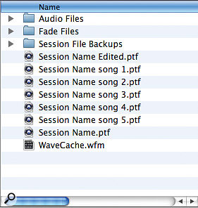 My Session folder now contains separate Sessions for each song.