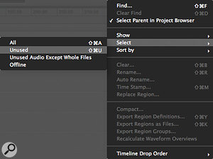 The Region List drop‑down menu can be used to select and clear unused material from a Session.
