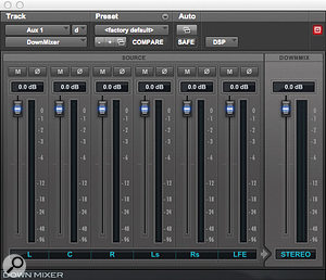 The Down Mixer plug-in makes it possible to monitor surround sessions on a stereo playback device.