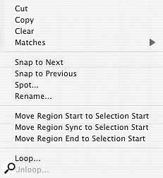 Right-clicking a Region with the Command (Windows: Ctrl) key held preserves any selection in the Edit Window, and brings up some additional options.