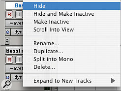 Track names also have their own contextual menus. Scroll Into View is particularly useful if you are working with a small control surface.