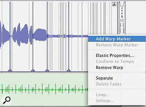 With Elastic Audio enabled, you can right-click to change a Region's Warp settings.