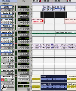 One of the big advantages of the 'bounce to track' approach is the ability to patch a short section of your bounce where necessary. Here, the audio on the 'Links' track has been changed: note how I've selected a  wider area in the timeline.