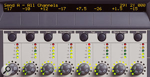 Console View displays a  single parameter, such as Send A, for each of the eight channels currently in focus.