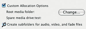 The Custom Allocation Options tick box allows you to decide whether new sub-folders will be created within the folder you select.