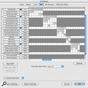 The I/O Setup window can be thought of as a one–stop shop for setting up mapping, configuration and labelling. You can control every aspect of <span>Pro Tools</span>' inputs and outputs, including labelling them on your <span>Pro Tools</span> mixer so they say useful things like 'Kick' instead of 'Input 1'.