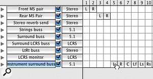 When you select the first element in the routing matrix that you wish a new path to use (in this case, 'L' in column 5), Pro Tools automatically fills in the rest.