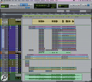 This composite screen shot shows the Pro Tools Session for Need You Now's title track. Note the 'herd' of stacked acoustic guitar tracks in the middle.