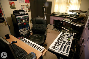 """Pendulum's studio occupies one room in a suburban house. The acoustically treated area to the left of the window is where Rob Swire's vocals are recorded, and the pink cupboard visible at the right is """"full of tiny wooden squares that go all the way to the back"""", somehow evening up the bass response!"""