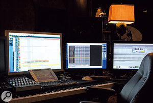 This is Hans' main writing console with our custom sampler, Sam, running on the screen to the right of the 30-inch Apple Cinema Display.