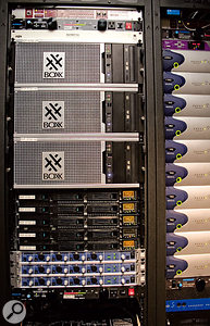 More of the same: a second rig housed in Hans' machine room for a support composer in an adjacent room. The three Boxx systems are configured identically to Hans' own, while the 1U Intel servers are older systems running Gigastudio 3. This rig also has an expanded 160-input Pro Tools HD system, making it easy to move mixer templates between different composers.