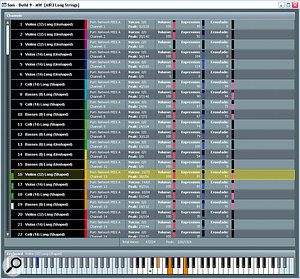 The simple interface for the 64-bit sampler I developed to play back Hans' custom orchestral library for Pirates Of The Caribbean: At World's End.