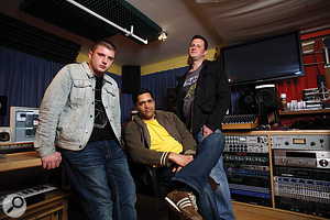 Ben Drew (left), Eric Appapoulay (centre) and David McEwan at The Sanctuary Studios.