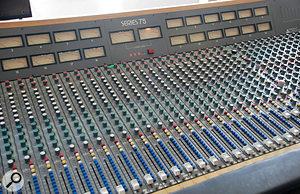 Adrian Utley's Trident Series 75 mixer, the centrepiece of his studio.