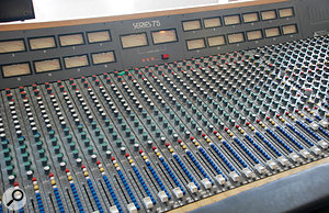 Adrian Utley's Trident Series 75 mixer, the centrepiece of his studio.