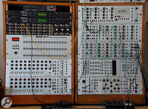 Modern gear is also plentiful, such as this large Doepfer modular synth.