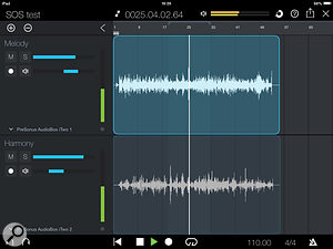 The Duo Capture iPad app. Whilst there are only very basic mixing controls (volume and pan per track), projects can be sent via Wi-Fi to the Studio One DAW software on your computer. A  paid upgrade is required to access the full 32-track version.