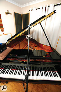 One of the unexpected benefits of the Disklavier is that there's no pianist to get in the way of your mic stands! We decided this was the best position for the Royer SF12 ribbon mic.