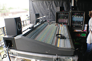 """Jon Burton's desk of choice is aMidas XL3. """"My XL3 lived in the Forum in Kentish Town for many years, and has been mixed on by most people Iknow! It is aright hooker, in that it has the master section on the side, rather than the more recent ones, where it is in the centre. It has been modded with four extra stereo channels, bringing the count to 44 channels. Joe [Campbell, monitor engineer] has the more regular version on stage, and we're both fans."""""""