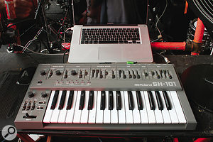 """Liam Howlett's keyboard rig includes (clockwise from top left) avintage Roland SH101 analogue monosynth, Access Virus TI,  the """"Invaders machine"""" (see above for details), and a Roland Gaia SH01 (with miniature Korg Monotron perched on top!)."""