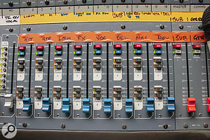 For balancing the band's levels during a show, Jon Burton relies on the XL3's VCA groups, which allow him to assign multiple channels to individual faders.