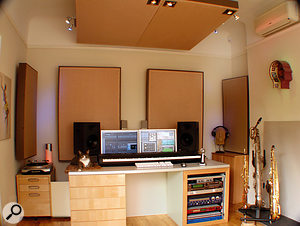 Pete Thomas's studio, with Chester the studio manager in his favoured position.