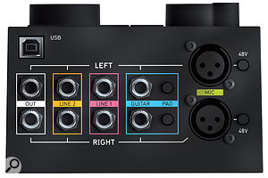 This render of the Balance's back panel shows the unit's stereo outputs, dual stereo line inputs, guitar inputs with pad buttons, and XLR mic inputs with switchable 48V phantom power. At the top left is a USB port to connect the Balance to your computer.