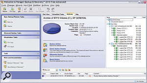 An imaging utility (such as Paragon Backup & Recovery, shown here) will create a complete snapshot of your computer's hard drive and save you having to reinstall software after a crash or drive failure.