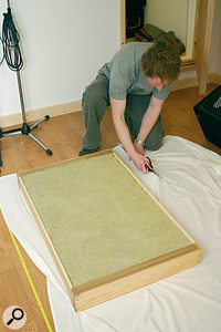 Remember to coat Rockwool with an acoustically transparent material to trap stray fibres, as shown above. Also, placing acoustic foam on top of Rockwool panels, as in the picture below, makes a far more effective acoustic absorber as the foam absorbs high frequencies that the Rockwool does not.