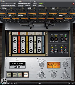 A common cause of unwanted noise is analogue-modelling plug-ins, which are often too authentic! This UAD Studer model, for example, features a  noise control which, by default, is hidden beneath a  panel. Several Waves plug-ins also have noise switched on by default, and in some mixes compression and limiting further down the signal chain can raise this to annoying levels.