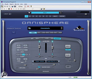 This is Spectrasonic's Omnisphere running as astand-alone soft synth inside Herman Seib's excellent Savihost utility. Savihost is one of the simplest VST hosts, as well as being avaluable test tool.