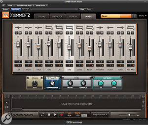 Given the control you have over the performance of MIDI–triggered drum instruments such as EZdrummer 2 (pictured), you may find when it comes to compression that you can focus more on group channels such as room (or 'ambience') mics and overheads, and less on the close-miked kit pieces.