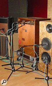 A  Leslie cabinet (centre) being close–miked at Tori Amos' Martian Engineering studios.