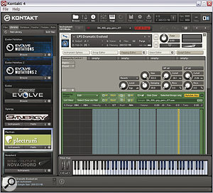 A sample player (such as NI's Kontakt 4 shown here) does a lot more than play back samples. In this library from Heavyocity we can see how lots of samples have been mapped across the musical keys so you can easily play them in combination, while a set of custom controls has been specially programmed to tweak them to your taste.