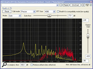 The ReaFIR plug‑in within Cockos' freeware ReaPlugs bundle can be used to reduce background noise in amore transparent way than is possible using ordinary expansion or gating processes.