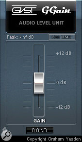 Simple gain plug-ins, such as GVST's freeware GGain, are tremendously handy when mixing in aDAW, partly because they give you more control over the level arriving at any analogue-modelled plug-ins in your collection — afactor that can be crucial to their tone.