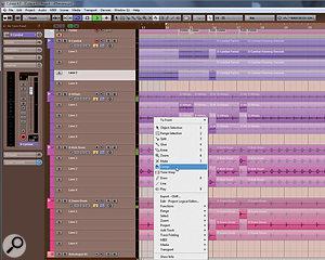 Unless you want to chop up your tracks and 'fake' a decent take, the Comp tool in Cubase 6.5's group editing feature should be all you need to create a great overall take from different parts. We're talking here about multi-part backing vocals, for example, where multiple performers are being recorded at the same time onto different tracks.