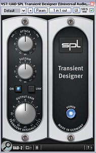 If you prefer not to time‑align the tracks in a multi‑mic drum recording, achieving adequate transient attack can sometimes be a problem. Fortunately, there are now numerous dedicated transient processors on the market that can help. Here you can see a small selection: Voxengo TransGainer, Stillwell Audio Transient Monster and SPL Transient Designer.
