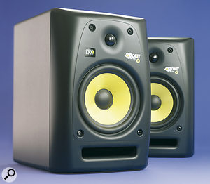 A pair of KRK RP6s, mounted on stands behind a digital piano, would be an excellent choice for reproducing its sound in an accurate and pleasing way. However, if you only need the speakers to hear piano playback and they don't need to double for mixing or other monitoring, a set of quality hi-fi speakers, such as the Wharfedale Diamond 8.2s shown here, will do the job w
