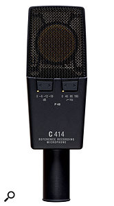 This is the rear side of the AKG C414 XLS microphone, showing two of its three rocker switches. These are quite easily adjusted inadvertently when positioning the mic, so it's worth double‑checking the LED settings before you hit Record.