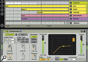 A submix is simply a way of sending several tracks to a group bus. This enables you to process the tracks all together. In the example shown here, a compressor is being used on a side-chain input, causing the whole submix to be ducked by the kick drum.