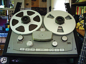 While the effects of running a track through an analoguetape machine at mixdown might be desirable, you may be better off using aplug-in if you have a very specific effect in mind. The possible parameters involved in using an old tape machine, like this Studer model, for example, can create large variations in the sound achieved.